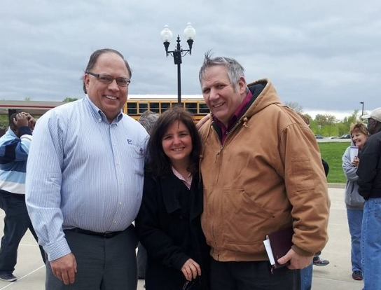 Here I am between Kenneth Wienski, the organizer, and my husband, Bernie, at the National Day of Prayer in O'Fallon.