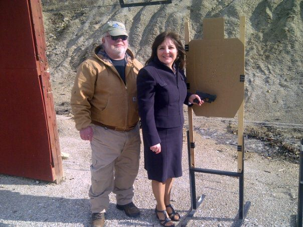 On a cold day at one of my favorite outdoor shooting ranges with one of my favorite gun instructors, Tim Oliver, near Columbia.