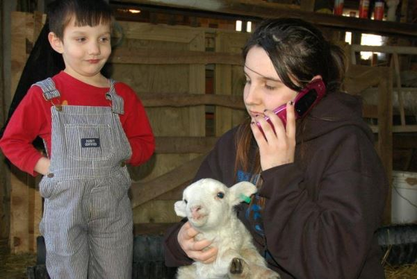 She was probably calling home to ask her mother if she would mind if she brings a lamb home.
