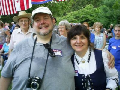 "This was a photo someone snapped with Doug Edelman, conservative icon in St. Charles County, at the ""Old Fashioned Independence Day Celebration"" at the Akin residence a few years ago."