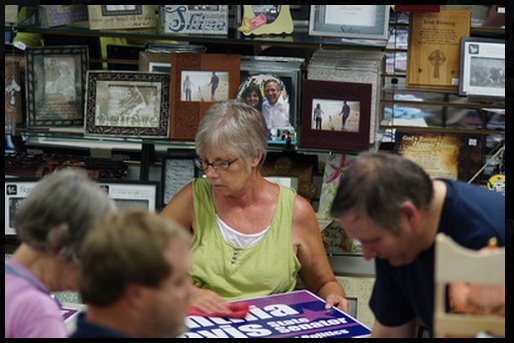 This photo was snapped at a campaign sign prep party we had two years ago.   In the photo is Cindy Redburn, candidate for State Representative in South County.  It takes a lot of great friends to have a great campaign!
