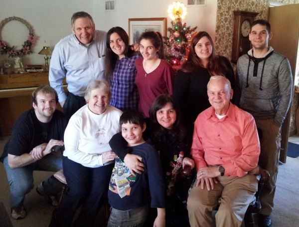 This is a photo we took on Christmas day with my parents, Gordon and Marylin Gosh, husband on the end,  five of my children, Cathryn, Susanna, Amanda and Matthew (in the back),  nephew, Daniel, and son, Philip in the front (being corralled by me and my mom).