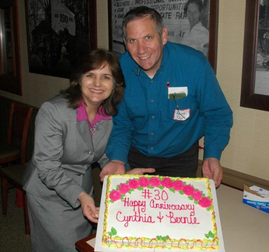 This was taken a few years ago when the Lewis and Clark Pachyderm Club asked me to be the guest speaker at one of their meetings.  Someone realized it was our anniversary and  honored us with a cake.