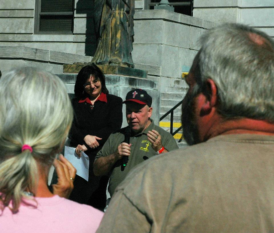 This is a photo someone snapped while Gregory Thompson was introducing me in front of the courthouse in Springfield, Missouri.