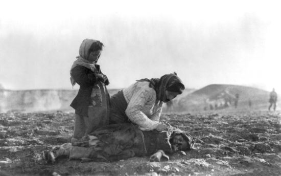 This is an actual photo of an Armenian mother dealing with her dead daughter victimized by the Armenian Genocide.