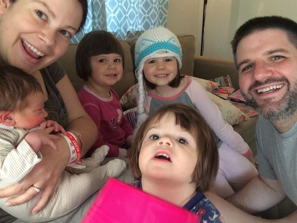 Our son, John and his wife, Emily with their new baby, Timothy Gordon joining his three big sisters, Penelope, Eliana (with the hat) and Cora (in the front).