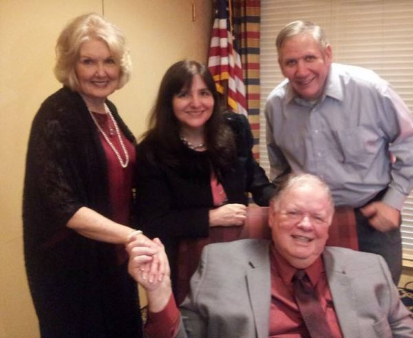 Pictured are Harold's wife, Joan Hendrick, me, Bernie and Harold Hendrick, sitting.