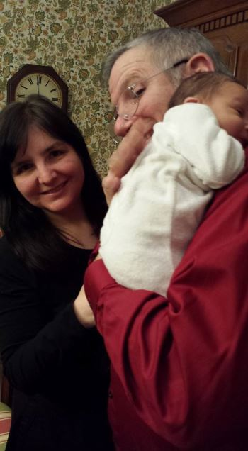 (In case you wanted to see another picture of the new baby with his grandparents, me and Bernie!)