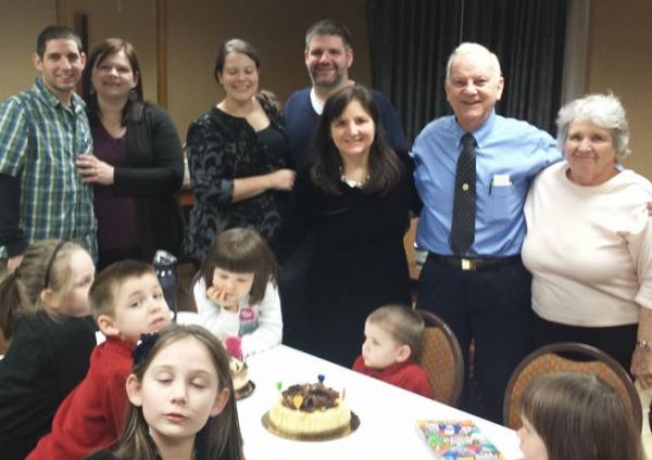 My Air Force son is on the Left side of the picture.  This was taken the last time we were together in November.  It may look a little crazy, but that's what happens when people have been married 35 years and have seven children and ten grandchildren and are still fortunate to have parents around.