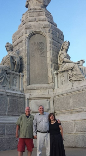 This is Bernie's brother, Scott, my husband, Bernie and me in front of the Monument to the Forefathers in Plymouth, Massachusetts.  It's the largest granite monument in the United States.  The entire time I lived in Massachusetts, I never knew it existed.   As you can see from the picture, it was too big to capture the entire monument in the picture.
